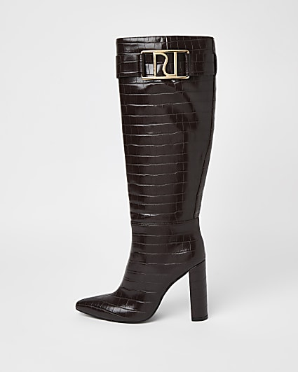 Brown faux croc knee high heeled boots