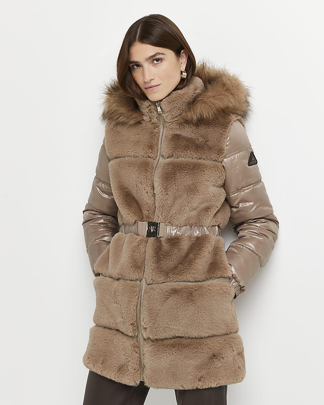 Brown faux fur belted coat