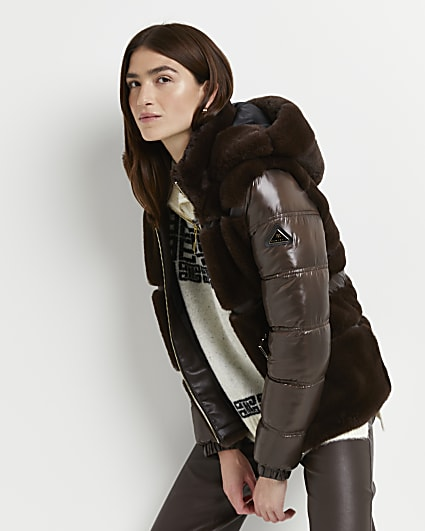 Brown faux fur belted puffer coat