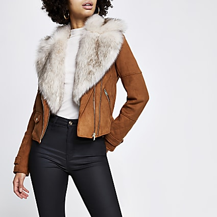 Brown faux fur biker jacket