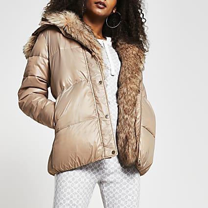 Brown faux fur hooded puffer coat