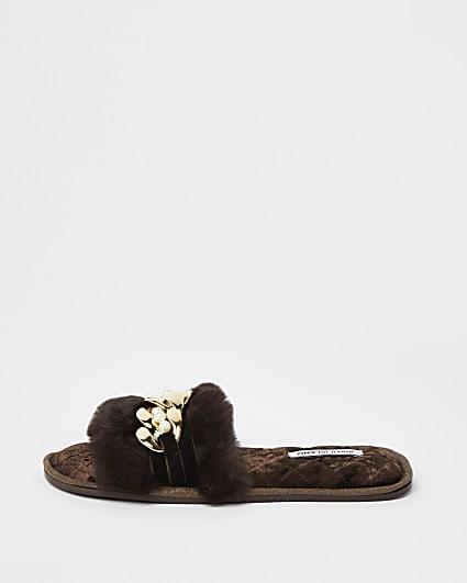 Brown faux fur open toe slippers