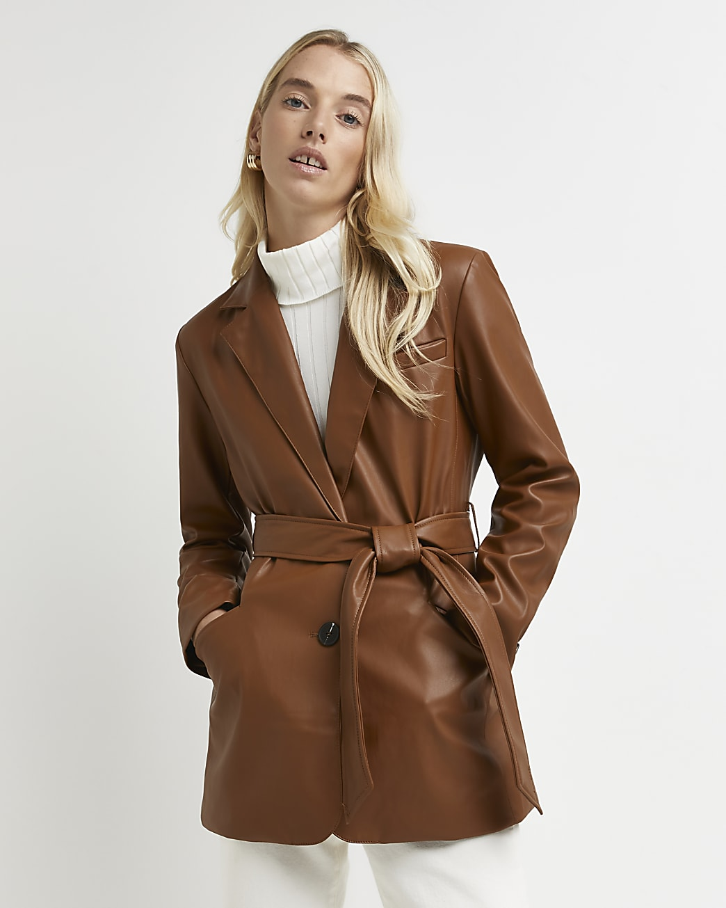 Brown faux leather belted blazer