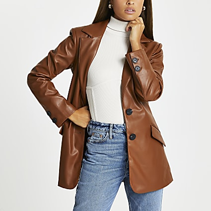 Brown faux leather belted dad blazer