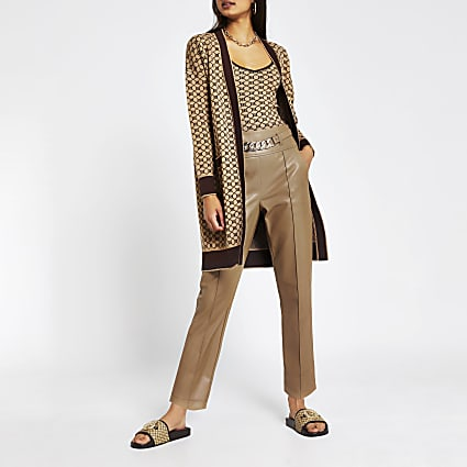 Brown faux Leather chain belt trousers