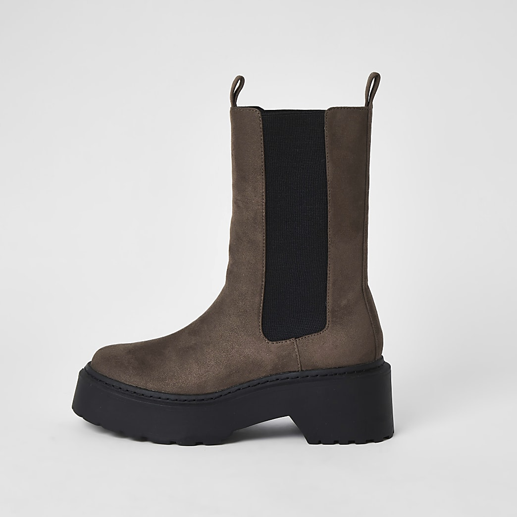 Brown faux leather chunky boots
