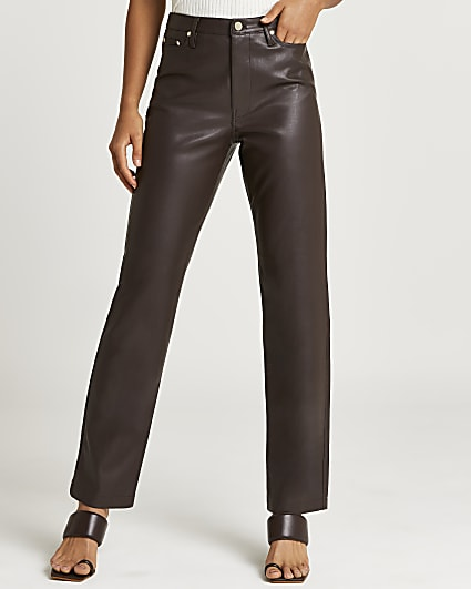 Brown faux leather cigarette trousers
