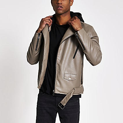 Brown faux leather hooded biker jacket