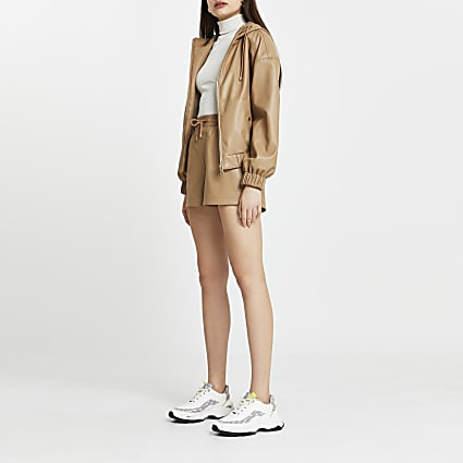 Brown faux leather hooded zip up jacket