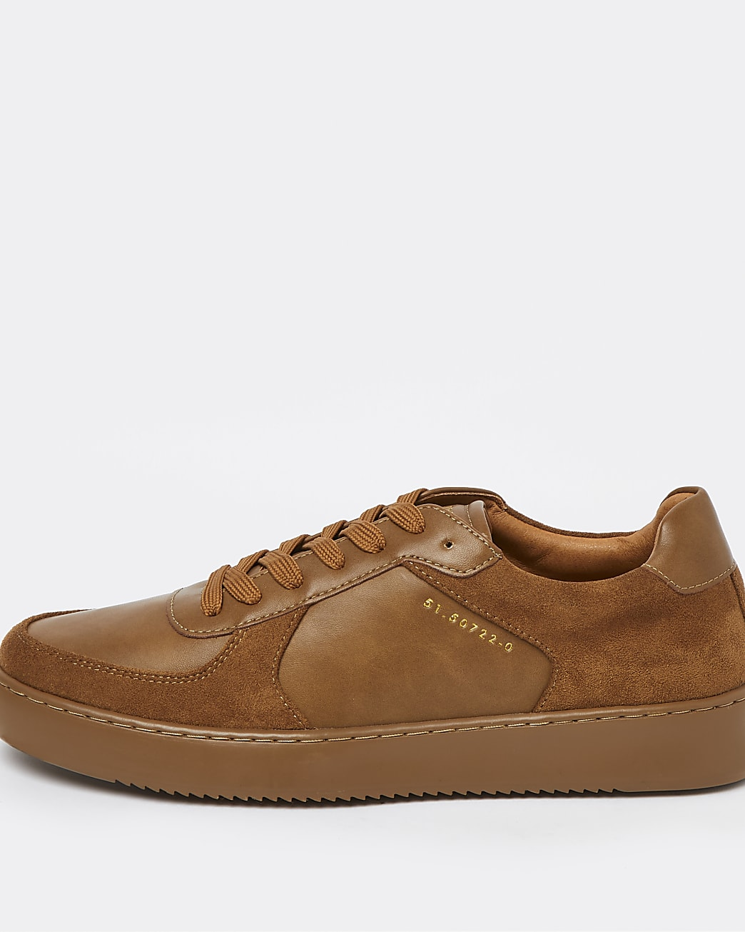 Brown faux leather lace up trainers