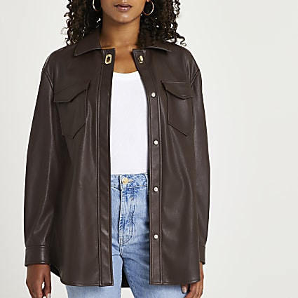 Brown faux leather overshirt