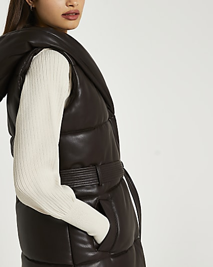 Brown faux leather padded gilet