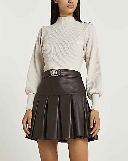 Brown faux leather pleated mini skirt