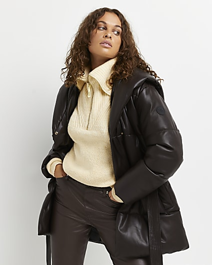 Brown faux leather quilted belted puffer coat