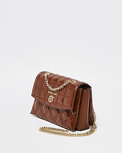 Brown faux leather quilted handbag