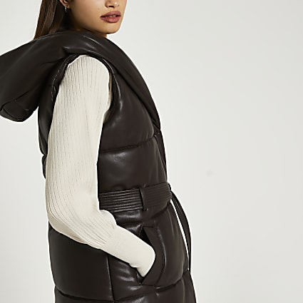 Brown faux leather quilted padded gilet