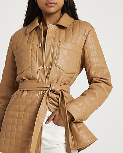 Brown faux leather quilted shacket