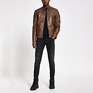 Brown faux leather racer jacket