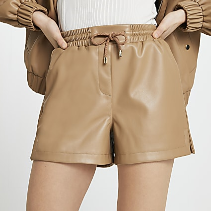 Brown faux leather runner shorts