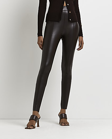 Brown faux leather skinny trousers