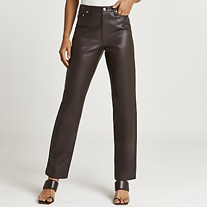 Brown faux leather straight leg trouser