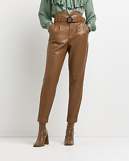 Brown faux leather tapered trousers