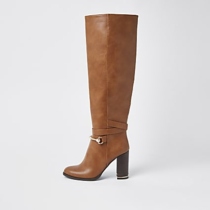 Brown faux leather wood block heel boots