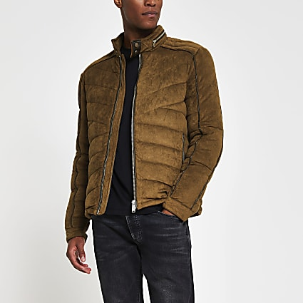Brown faux suede quilted racer jacket