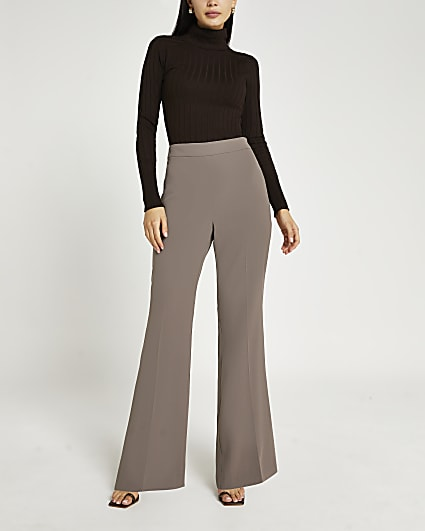 Brown flared trousers