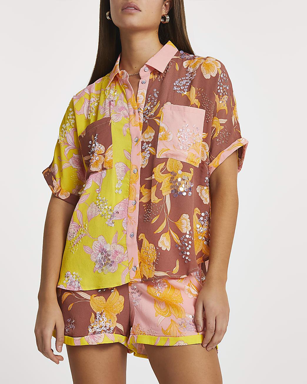 Brown floral embellished shirt