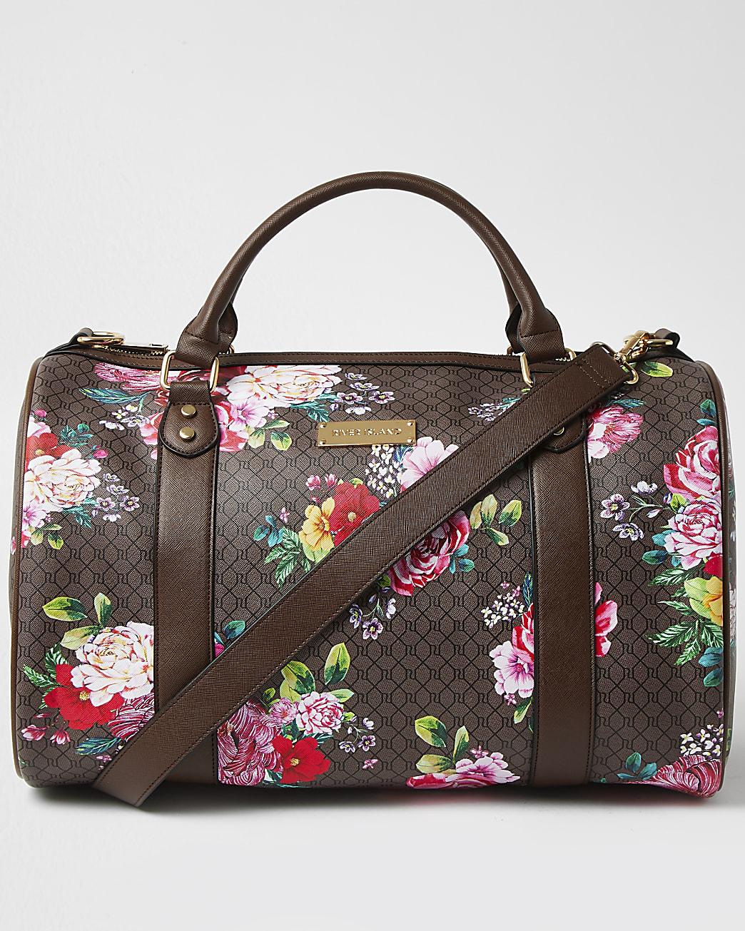 Brown floral monogram barrel bag