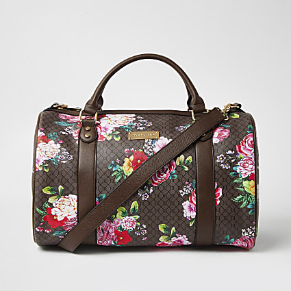 Brown floral monogram barrel bag