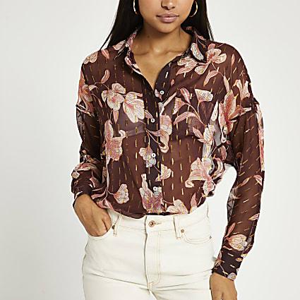 Brown floral print blouse