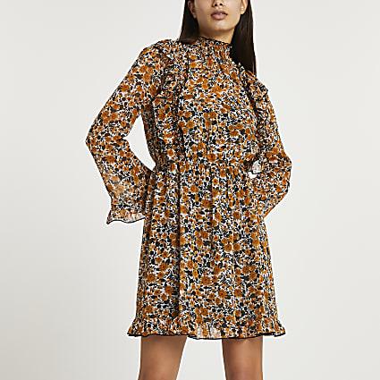 Brown floral print ruffled dress