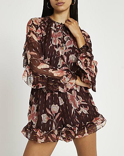 Brown floral print ruffled playsuit