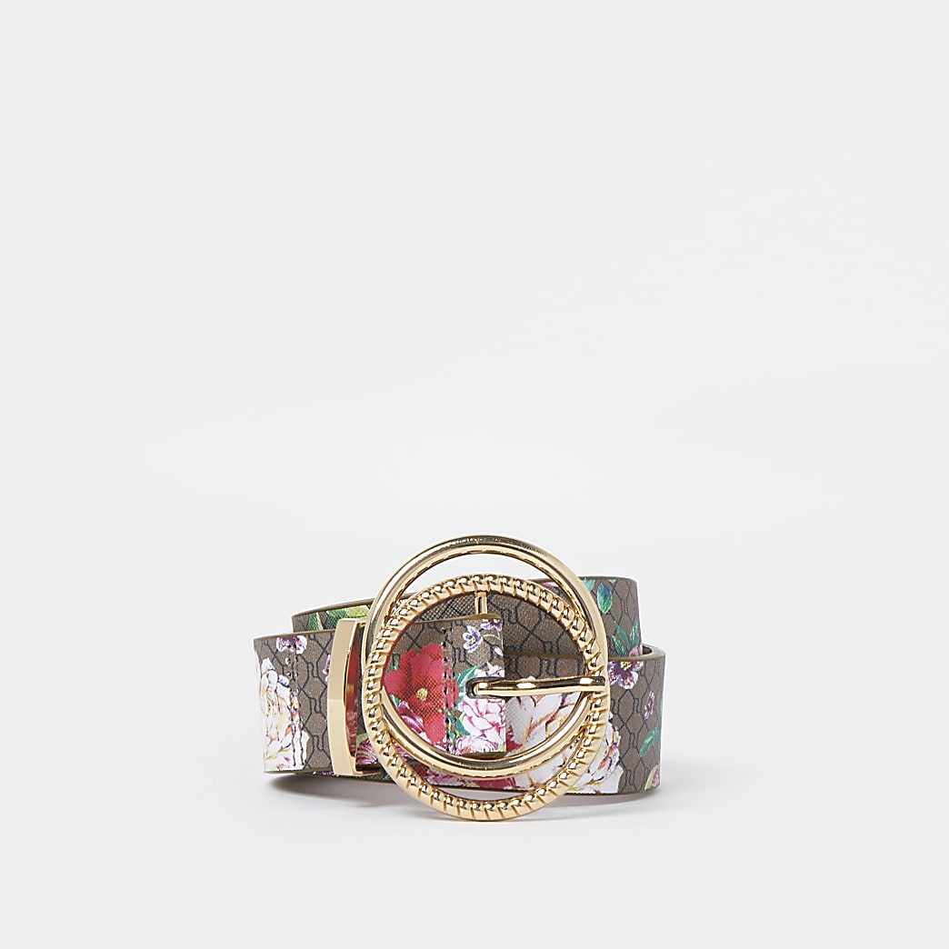 Brown floral RI eclipse belt