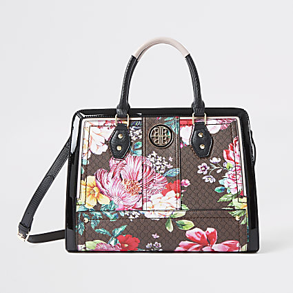 Brown floral RI monogram boxy tote bag