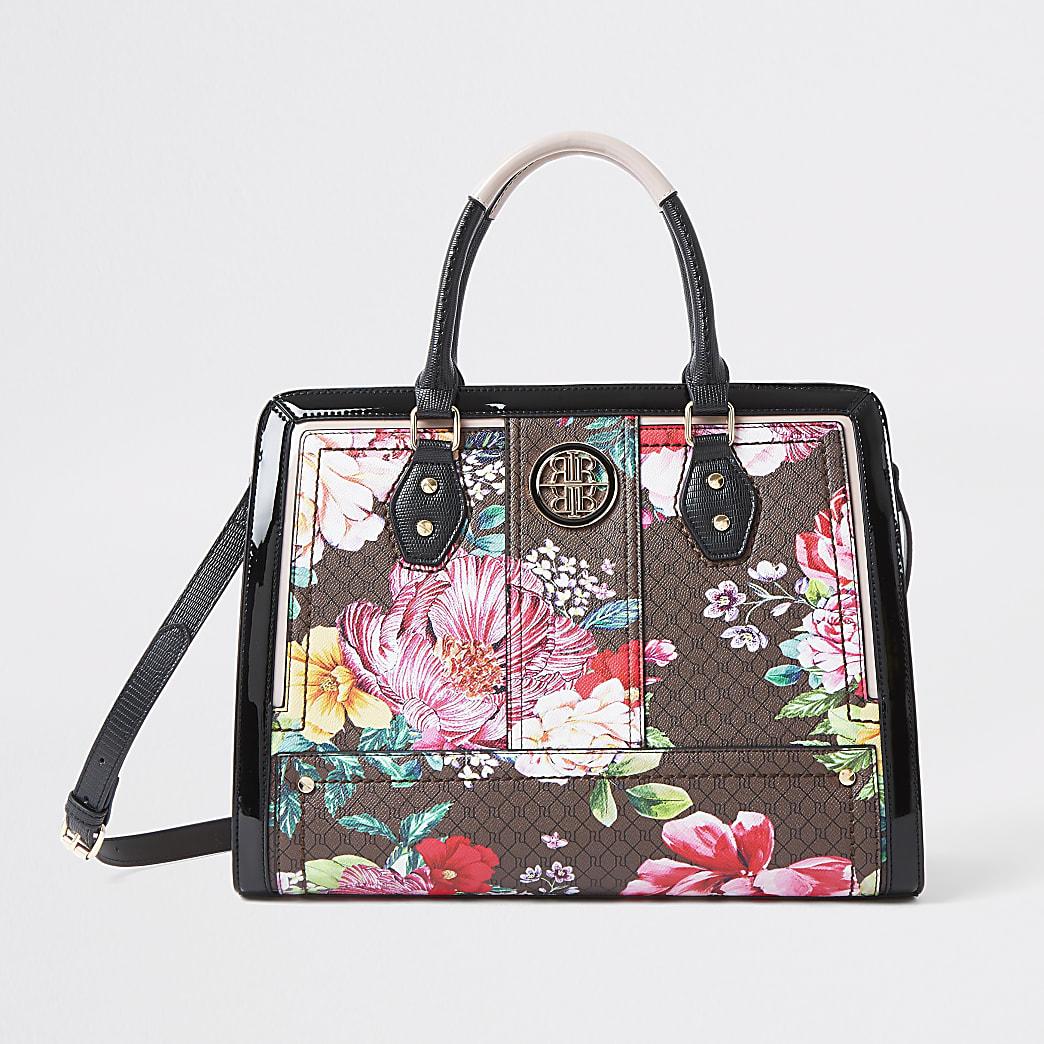 Brown floral RI monogram boxy tote bag