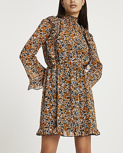 Brown floral ruffled dress