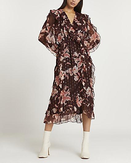 Brown floral ruffled midi dress