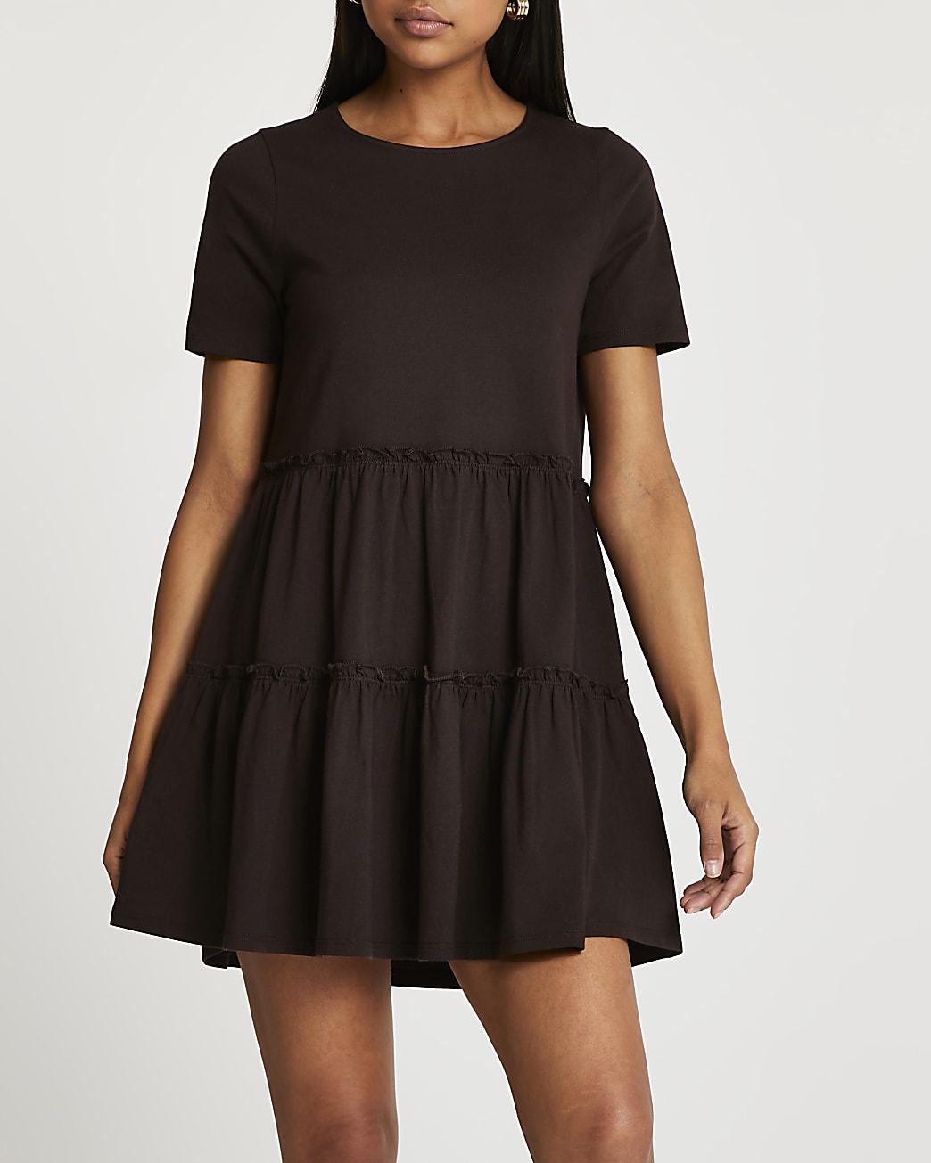 Brown frill detail t-shirt mini smock dress