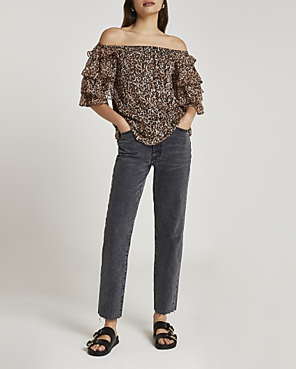 Brown frill sleeve bardot top