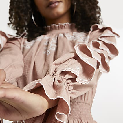 Brown frill sleeve broderie detail dress