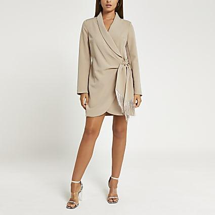 Brown fringe detail blazer dress