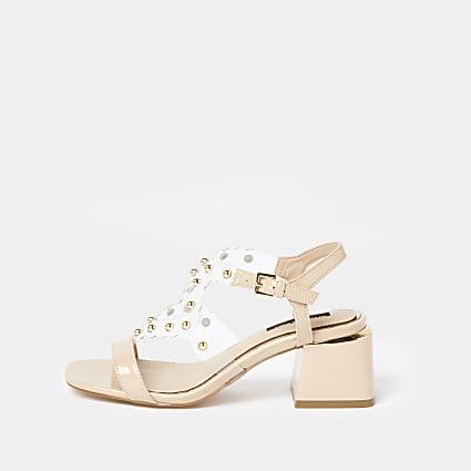Brown gem embellished block heel sandal
