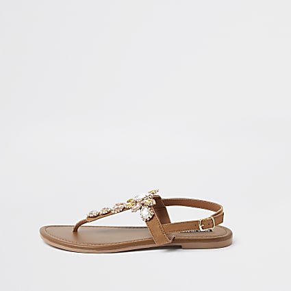Brown gem toe post sandals