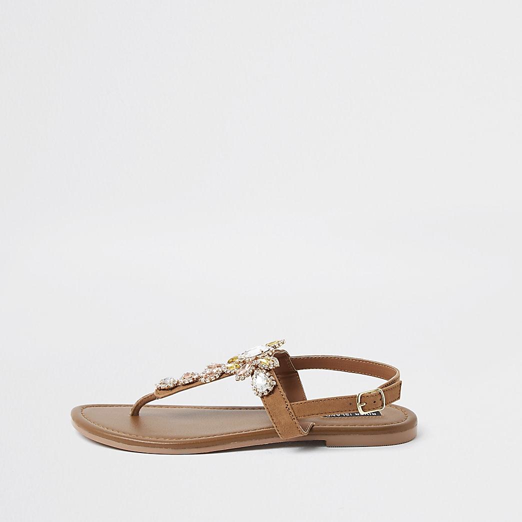 Brown gem toe post sandals