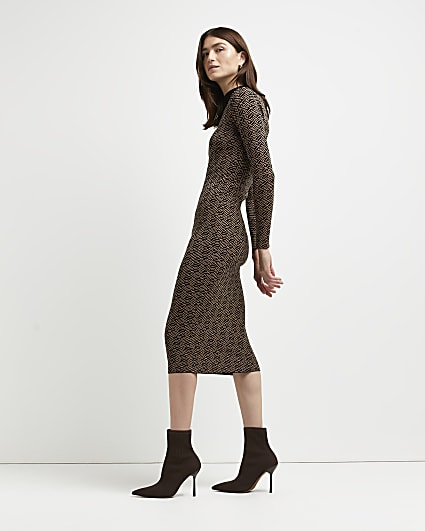 Brown geo print knitted bodycon dress