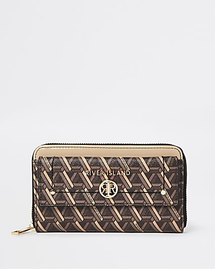Brown geo print purse