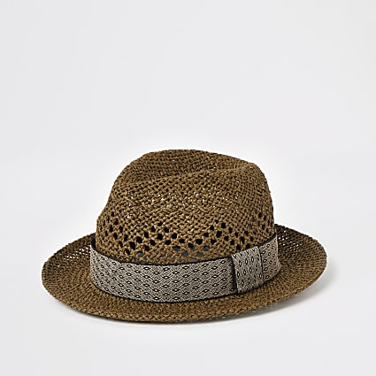 Brown geo tape straw trilby hat
